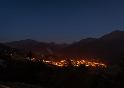 Aussois de nuit vue de Chantovent (Photo A.Pernet)